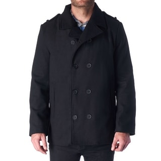 Link to Hammer Anvil Bryce Mens Wool Blend Double Breasted Peacoat - Black Similar Items in Men's Outerwear