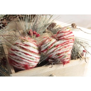 """Pack of 6 Rustic Lodge Homespun-Look Heart & Round Ball Christmas Ornaments 5.5"""""""