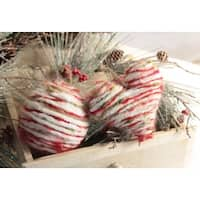 """Pack of 12 Rustic Lodge Homespun-Look Heart & Round Ball Christmas Ornaments 5.5"""" - Red"""