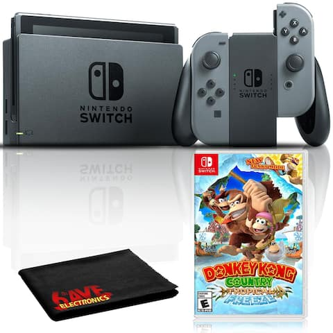 Nintendo Switch with Gray JoyCon Bundle with Donkey Kong Country + - Black