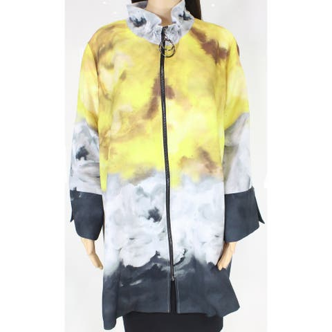 IC Womens Jacket Yellow Multi Size 3X Plus Printed Fill-Zip Wide Sleeve