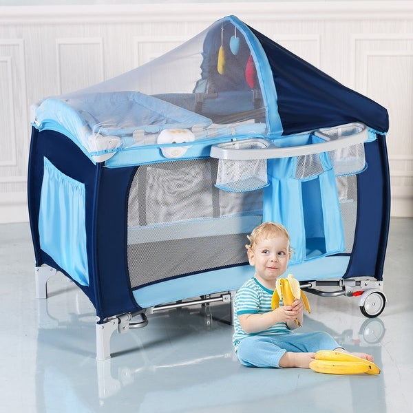 Coffee Baby Infant Crib Playpen Travel Bassinet Bed Folding Portable Wheels Bag Baby Playpens & Play Yards