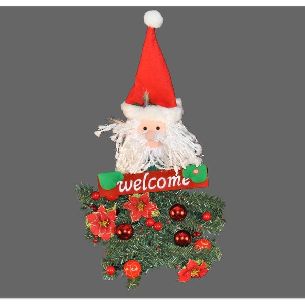 Christmas at Winterland WL-BAT/SANTA-31 31 Inch Battery Operated Santa Claus Hanging Welcome Arrangement