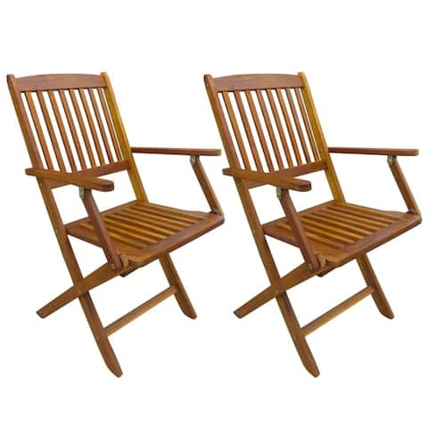 vidaXL Folding Garden Chairs 2 pcs Solid Eucalyptus Wood