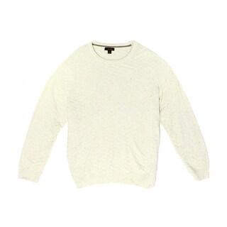 Tasso Elba NEW Beige Mens Size 2XL Crewneck Chevron-Knit Ribbed Sweater