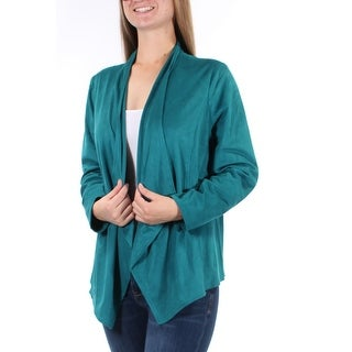 JM COLLECTION $69 Womens New 2530 Teal Open Cardigan Long Sleeve Top M B+B