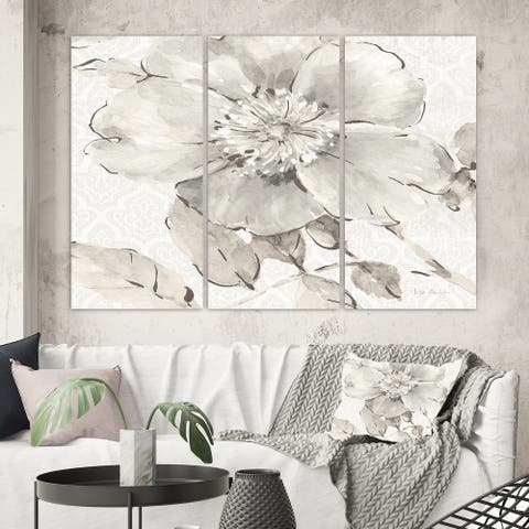 Designart 'Indigold Grey Peonies II' Farmhouse Gallery-wrapped Canvas