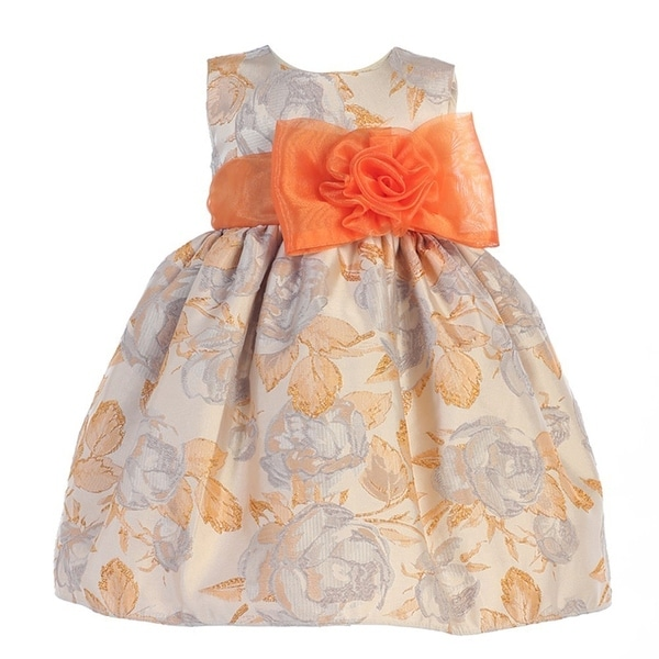 Crayon Kids Baby Girls Orange Flocked Flower Adorned Easter Dress 9-24M