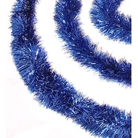 50' Shiny Blue Festive Christmas Hanukkah Foil Tinsel Garland - Unlit - 8 Ply (Pack of 3)