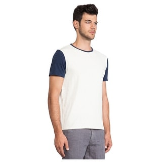 Life After Denim Knitwear T-Shirt X-Large Beige and Navy Colorblock Tee