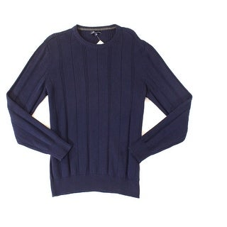 John Ashford Mens Medium Striped Crewneck Knit Sweater