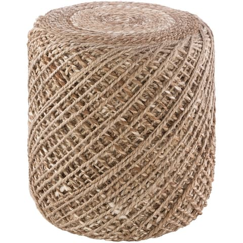 The Curated Nomad Murphy Farmhouse Braided Jute 16-inch Cylinder Pouf