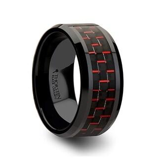 THORSTEN - ANTONIUS Beveled Black Ceramic Ring with Black & Red Carbon Fiber - 10mm