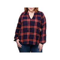 Lucky Brand Womens Peasant Top Metallic Plaid