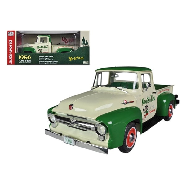 1956 Ford F-100 Pickup Truck Mountain Dew Limited to 1250pc 1/18 Diecast Model Car by Autoworld