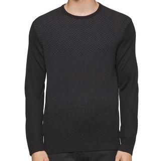 Calvin Klein NEW Black Men Medium M Chevron-Print Crewneck Wool Sweater
