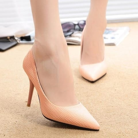 Korean New Fashion Sexy Club Thin High Heel Serpentine Soild Women Pointed Pumps