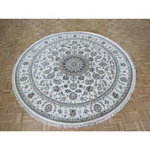 """Hand Knotted Ivory Nain with Wool & Silk Oriental Rug (8'2"""" x 8'2"""") - 8'2"""" x 8'2"""""""