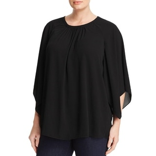 Vince Camuto Womens Plus Blouse Crepe Pleated