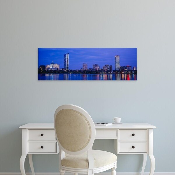 Easy Art Prints Panoramic Images's 'Night, Skyline, Back Bay, Boston, Massachusetts, USA' Premium Canvas Art
