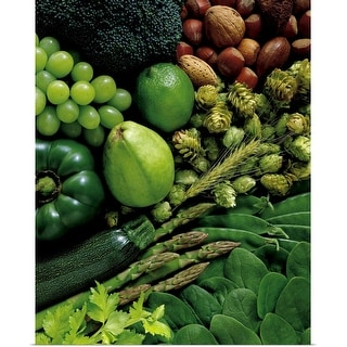 """Assorted raw vegetables, fruits and nuts"" Poster Print"