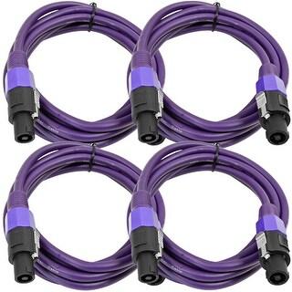 SEISMIC AUDIO 4 Pack of 12 Gauge 10' Purple Speakon to Speakon Speaker Cables