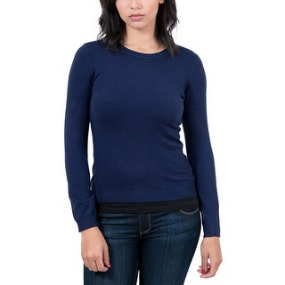 Real Cashmere Navy Blue Crewneck Womens Sweater (Option: Xxl)