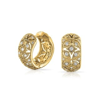 Bling Jewelry Gold Plated CZ Vintage Style Flower Small Hoop Hoop Earrings