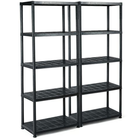 Gymax 2 PCS 5-Tier Ventilated Shelving Storage Rack Free Standing