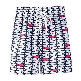 Azul Little Boys Navy One Fish Two Fish Drawstring Tie Swim Shorts