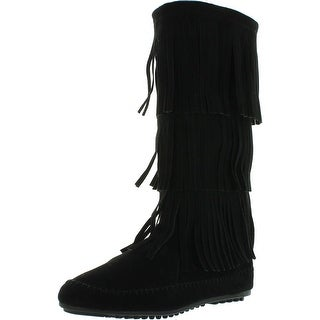 Nature Breeze Womens Cherokee-03 Fringe Mocassin Faux Suede Boots