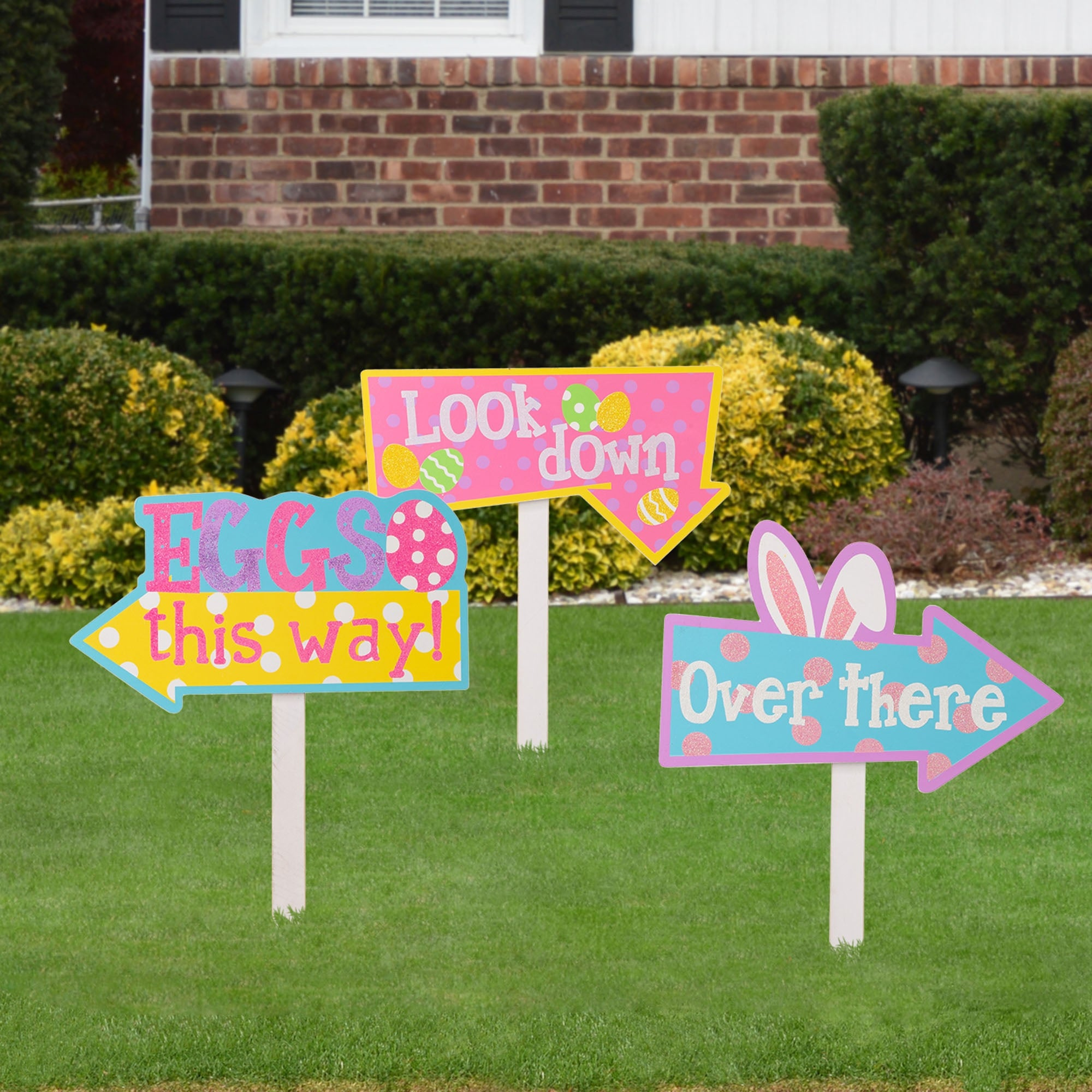 "Glitzhome Set of 3 14""H Easter Wooden Path Sign Yard Stakes"