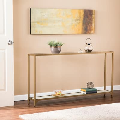 Silver Orchid Grant Wall-hug Goldtone Metal and Glass Console Table