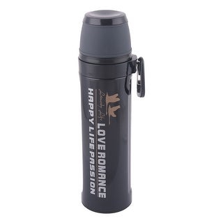 Stainless Steel Cylindrical Heat Resistant Water Bottle Vacuum Cup Black 550ml