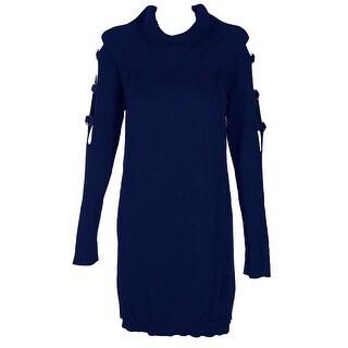 Inc International Concepts Deep Twilight Grommet-Embellished Tunic Sweater M