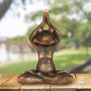 Exhart Meditating Bronze Yoga Frog Garden Statue, 17 Inch