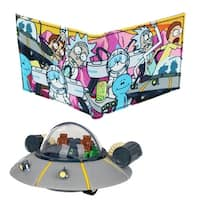 Rick and Morty Bi-Fold Wallet and Space Cruiser Vinyl Coin Bank Bundle - Multi