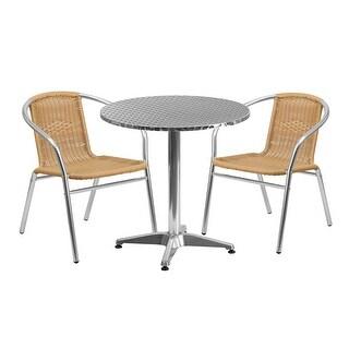 Skovde 3pcs Round 27.5'' Aluminum Table w/2 Beige Rattan Chairs
