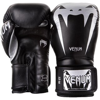 Venum Giant 3.0 Nappa Leather Hook and Loop Training Boxing Gloves-Black/Silver
