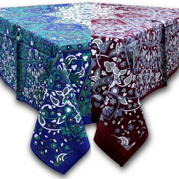 Cotton Elephant Star Floral Paisley Tablecloth Rectangular Blue Gray Burgundy