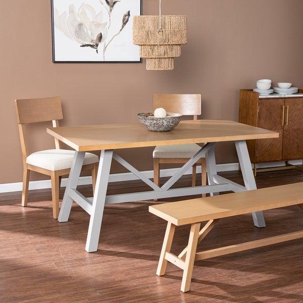 Porch & Den Hepner Natural/ Gray Wood Dining Set (Set of 4). Opens flyout.