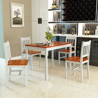 693521337f9 Gymax 5 Piece Dining Table Set 4 Chairs Solid Wood Home Kitchen Breakfast  Furniture - as