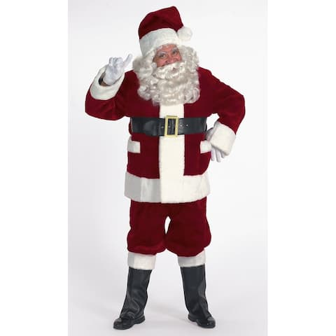 7-piece Burgundy Deluxe Christmas Santa Suit with Pockets - Adult Size XXL