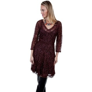 Scully Western Dress Womens Lace Opaque Lining V Neck 3/4 Sleeve
