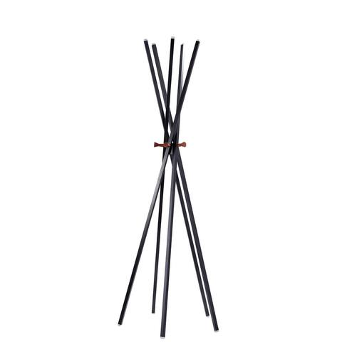 "Adesso WK2092 Andrew 67"" Tall (5) Hook Coat Rack - Matte Black / Walnut Ash"
