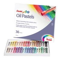 Pentel Non-Toxic Oil Pastel Set, 5/16 X 2-7/16 in, Assorted Color, Set of 36