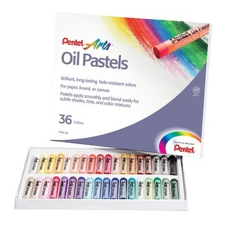 Pentel Oil Pastel Set, 5/16 x 2-7/16 Inch, Assorted Colors, Set of 36