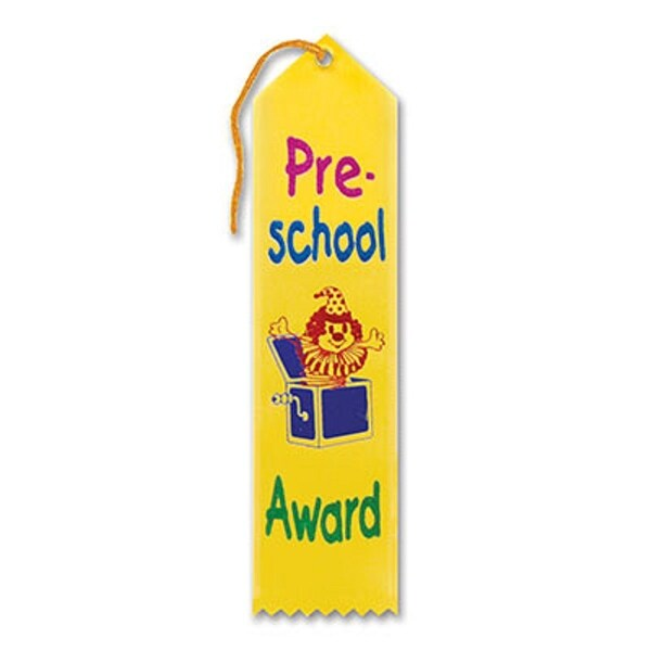 "Pack of 6 Yellow ""Pre-School Award"" School Award Ribbon Bookmarks 8"" - N/A"