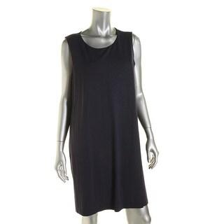 Eileen Fisher Womens Petites Jersey Faux-Wrap Casual Dress - pl