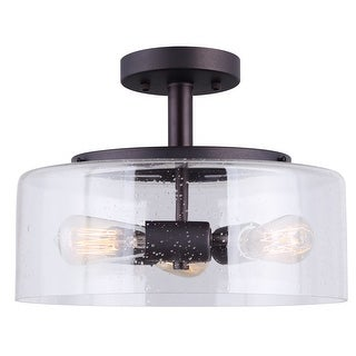 Canarm Nash 3 Light Semi-Flush Mount with Seeded Glass -Oil Rubbed Bronze Finish